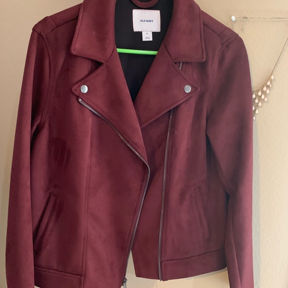 Old Navy Jackets & Blazers - Old Navy Faux Suede Burgundy Moto Jacket
